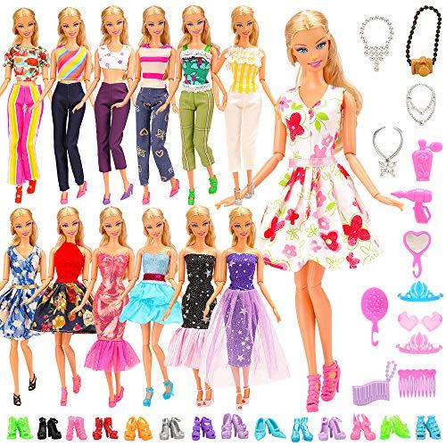 Miunana 28 Kleidung und Zubehör für 11,5 Zoll Mädchen Puppen, 5 Kleider + 13 Accessoires + 10 Schuhe