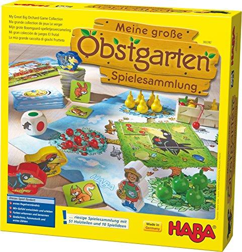 Haba 302282 - Meine große Obstgarten-Spielesammlung, original Obstgarten-Spiel und 9 weitere Spielideen in einer Packung, Spielesammlung zum beliebten Haba-Klassiker, Kinderspiele ab 3 Jahren