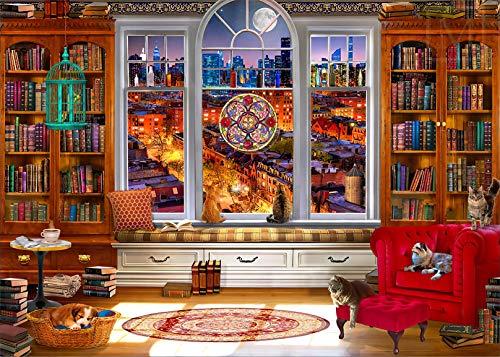 HUADADA Puzzle für Erwachsene 1000 Teile | Mondlicht Freizeit | Lustige Bibliothek-Puzzles 1000 Teile für Erwachsene Geschenke (70,1 x 50 cm)