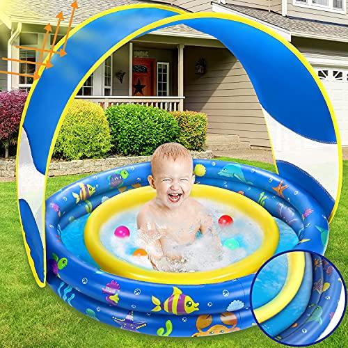 Jojoin Aufblasbares Planschbecken, Sommer Schwimmbad mit Abnehmbarem UV-Schutz Sun Shelter & Einzigartig Doppelschichten-Design, Kinder Wasserbecken für Garten Strand Draussen