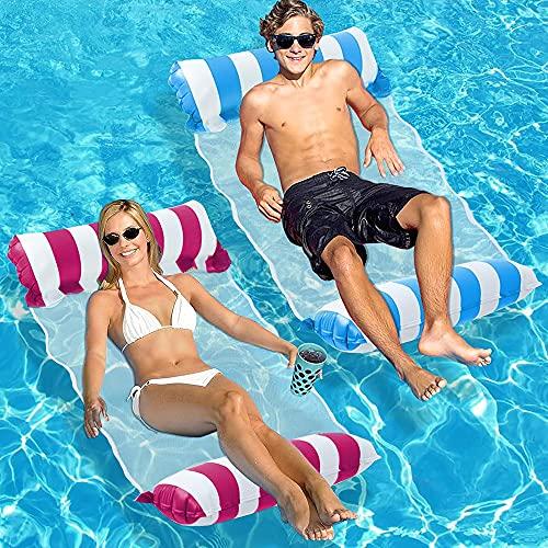 SenluKit 2er Aufblasbares Schwimmbett, Wasserhängematte 4-in-1 Loungesessel Pool Lounge luftmatratze Pool aufblasbare hängematte Pool aufblasbare hängematte für Erwachsene und Kinder