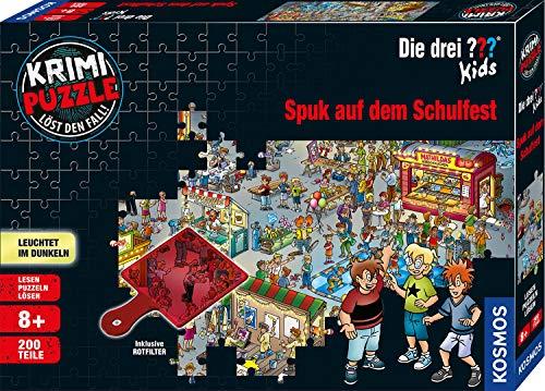 Kosmos 697983 - Krimi Puzzle: Die ??? Kids - Spuk auf dem Schulfest, Leuchtet im Dunkeln, 200 Teile, Lesen - Puzzeln - Rätsel lösen, für Kinder ab 8 Jahre