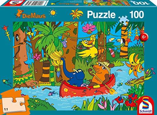 Schmidt Spiele Puzzle 56313 Die Maus, Im Dschungel, 100 Teile Kinderpuzzle, bunt