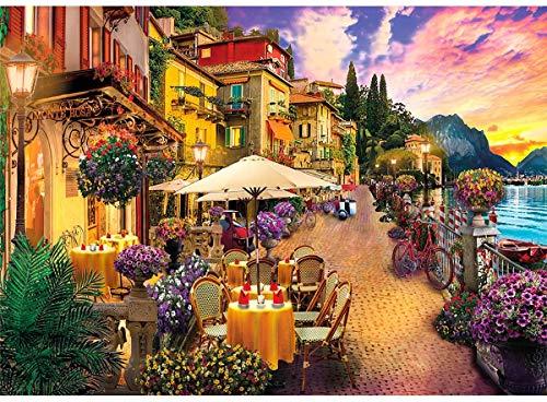 Puzzle 1000 Teile Italien Comer See Kleinstadt,Farbenfrohes Puzzle für Erwachsene Geschicklichkeitsspiel für die ganze Familie 70*50 cm,Familienspiel,Geschenk und Geschenk für Liebhaber oder Freunde