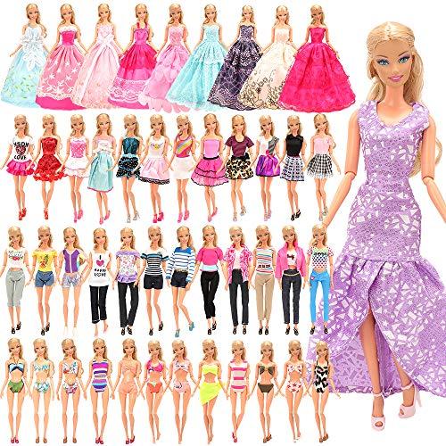 Miunana 21 Kleidung für Puppen = 5 Casual Kleider + 5 Top + 5 Hosen Röcke +3 Abendkleider + 3 Badenanzug für 11,5 Zoll Mädchen Puppen