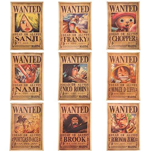 Yovvin One Piece Poster, Monkey D Luffy/Sanji/Roronoa Zoro/Nami/Tony Tony Chopper/Nico Robin/Franky/Brook/Portgus D Ace Anime Fanartikel Manga Poster, Mit Usopp Poster als Geschenk