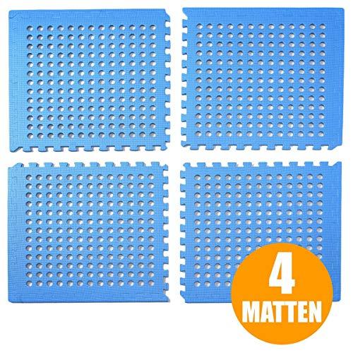 bonsport Pool Unterlegmatte Poolmatte 4 Stück - Bodenschutz Matte für den Pool/Planschbecken - Bodenfolie Bodenmatte Poolunterlage blau