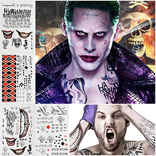 SNAGAROG 4 Pcs Halloween Clown Temporäre Tattoo Joker Harley Quinn Tattoo Abziehbar Cosplay Aufkleber für Halloween Horror Night Maskerade Cosplay Thema Party, Unisex-Erwachsene(20 * 30cm)