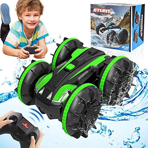 HOMOFY RC Cars Toy für 6-12 Jahre alte Jungen Amphibious 4WD Remote Control Auto Boot für Kinder 360°Roating Fahrzeug All Terrain Waterproof Truck Geschenkspielzeug für 6 7 8 9 10 Jahre alte Boys Girl