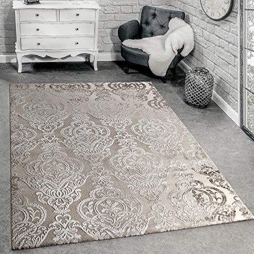 Paco Home Designer Teppich Moderne Orient Muster 3D Wohnzimmerteppich Beige Creme, Grösse:160x230 cm