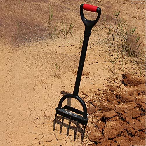 CRZJ Benzinvertikutierer, Rollrasenlüfter, Hand Rasen Gras Boden Belüfter, Schwarz