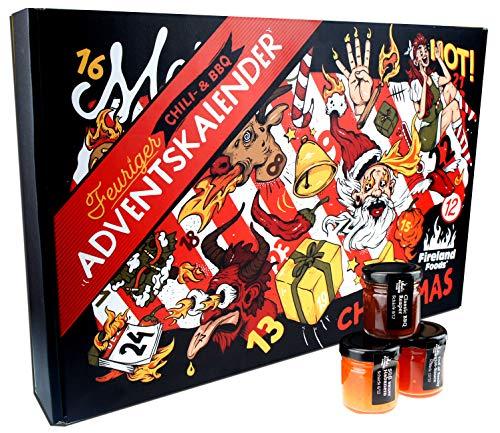 Chili- und BBQ-Adventskalender mit 24 Produkten | von mild bis höllisch | Geschenk für Advent und Weihnachten | Geschenk für Männer | Version mit Türchen | 960ml (24x40ml)