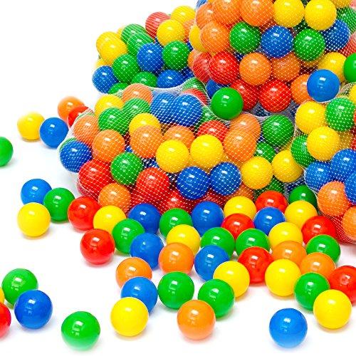 LittleTom 100 Bunte Bälle für Bällebad 5,5cm Babybälle Plastikbälle Baby Spielbälle