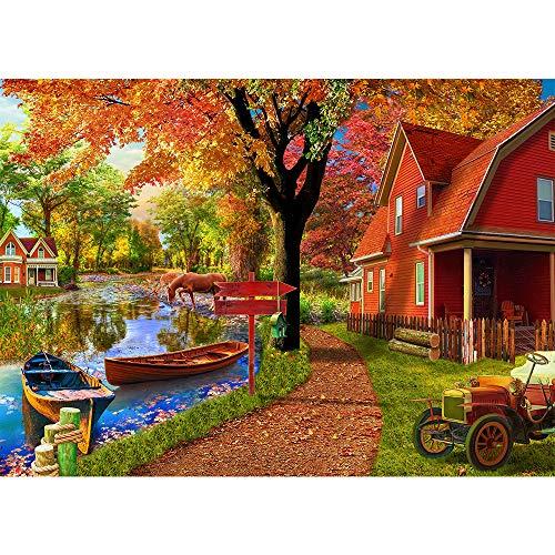 Puzzle 1000 Teile,Puzzle für Erwachsene, Impossible Puzzle,Puzzle farbenfrohes Legespiel,uzzle farbenfrohes Legespiel,Herbstdorf Hütte,Erwachsenenpuzzle