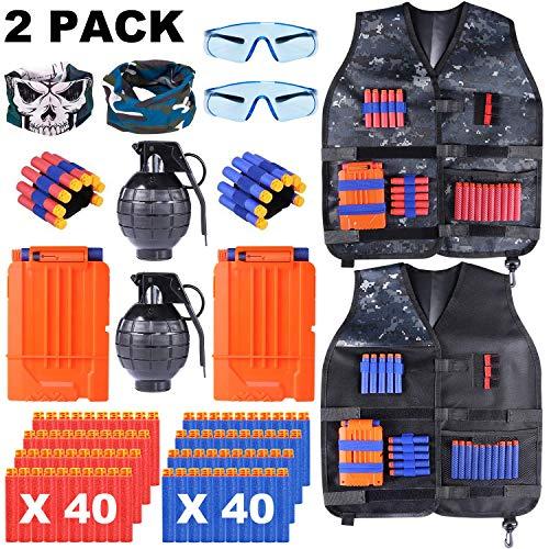 INNOCHEER Taktische Weste 2 Pack für Kinder, Taktische Jacke Kit mit 80 er Darts, 2 Brille, 2 schnell nachladen Clips, 2 Maske und 2 Armbände