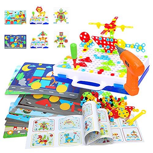 Lekebaby Steckspiel Montessori Spielzeug mit Bohrmaschine 263PCS DIY Bauspielzeug Pädagogisches Kreativset für Kinder Jungen und Mädchen