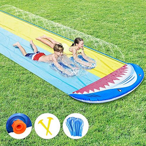 joylink Rasen Wasserrutschen, Wasserrutschbahn mit Surfboard Wasserrutsche Rutschmatte Wasserrutschbahn Rutsche Wassermatte Wasser Spielzeug Outdoor Wasserspielzeug für Garten Rasen und Kinder