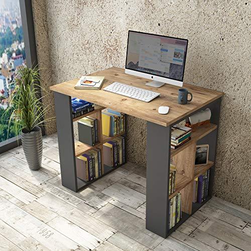 Yurupa Schreibtisch Computertisch Gaming Pc Tisch Arbeitstisch Bürotisch Eiche-Dunkel Grau Anthracite BR1-AA